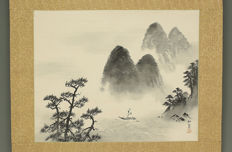"Hand-painted sumi-e scroll on paper by Satô Kôkan (1902-1975) - ""Misty sea sailing"" - Japan - 1st half 20th century"