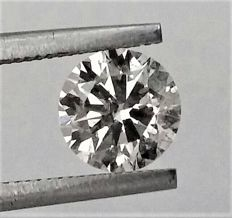 Round Brilliant Cut  - 1.11 carat - H color - SI1 clarity- Comes With AIG Certificate + Laser Inscription On Girdle- 3 x EX.