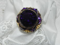 XXL cocktail ring 14 kt - 585 gold with amethyst, amethysts almost 10 g