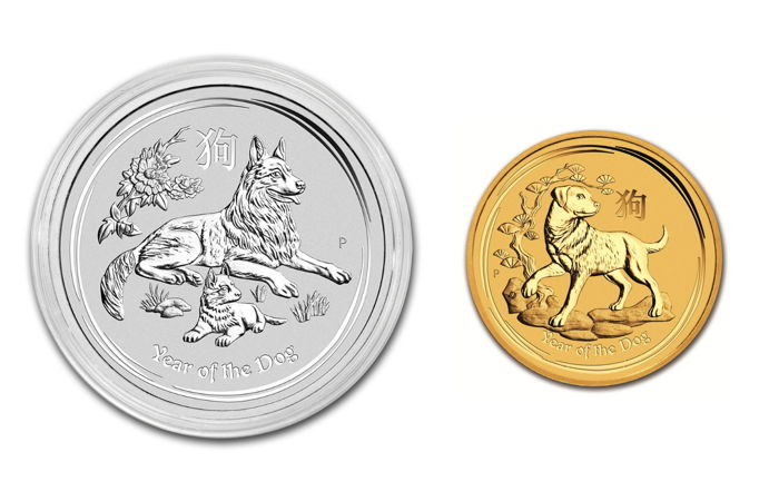 Australia - Perth Mint - 5 AUD + 1 AUD - 999 Gold Coin + 999 Silver Coin - Lunar Year of the Dog  2018 - Year of the Dog