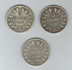 France - 5 francs 1839 A, 1844 W and 1846 W (lot of 3 coins) - Louis Philippe I - silver