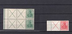German Empire/Reich 1912 se-tenants booklet sheet No. 7 and Zsdr. No. W4