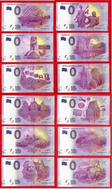 France - Special collector's collection of 12 banknotes of €0, Euro Souvenir + Deluxe album - Years 2016-2017