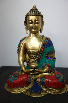 Large bronze Buddha - Nepal - early 21st century (25 cm)