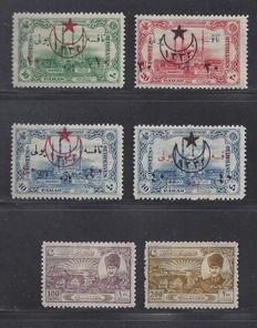 Turkey 1914/1924 - Overprint on postage due and Peace of Lausanne - Michel 472/475, 805, 806
