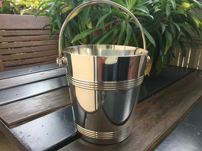 Silver plated metal ice bucket, Christofle, Galia