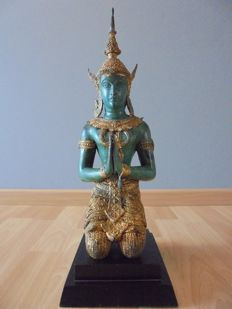 Temple guard in bronze with a lead seal which indicates authenticity - Thailand - around 1980 (42 cm)