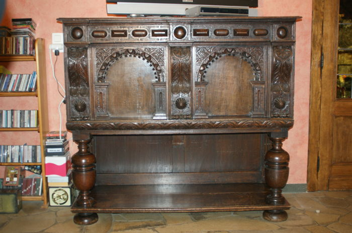 An oakwood sideboard in Renaissance style, France, 20th century with 17th century parts