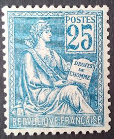 France 1901 – Mouchon, type I, 25 c. Blue – Yvert no. 114.