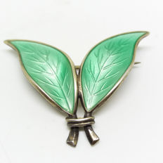 Signed 1960s David Anderson Enameled mint green Brooch. Norway