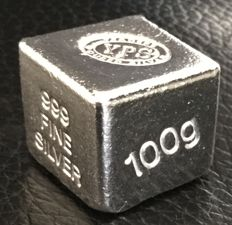 USA:  YPS Yeager's Poured Silver - 100 g silver cube