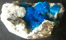 Top Quality Blue Electric Family Cavansite on Heulindite Matrix - 6.5 x 6 cm - 84 gm