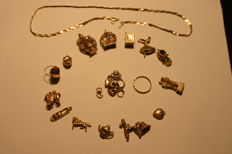 Assorted Gold Charms Plus Thin Gold Bracelet - Total Weight 35g