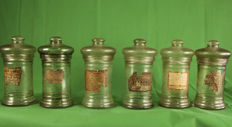 Six old pharmacy jars