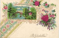Fantasy SILK cards 69 x - Cards with pieces of silk imposed on some parts of the cards - 1900/1910