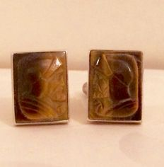 Silver with tiger's eye, 16 x 14 mm each