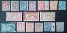France 1900/02 – Types Mouchon and Merson, selected copies, quasi-complete collection – Yvert no. 112 to 128 except for Yvert no. 122.