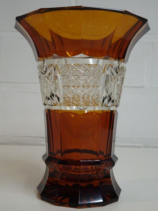 Amber Coloured Vase In Facet Cut Crystal Glass Catawiki