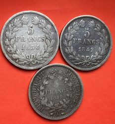 France – 5 Francs 1834 K, 1842 B and 1849 A (lot of 3 coins) - Silver