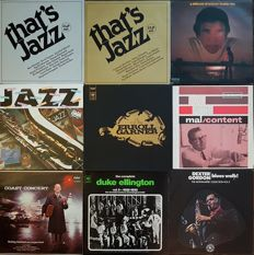 9 Very collectible Jazz albums (16 LPs) incl. 2 boxes: Buddy Rich, Dexter Gordon, Mal Fitch, Erroll Garner, Duke Ellington, Bobby Hackett a.o.