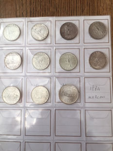Republic of Italy – 500 and 1000 Lira (11 pieces) – Silver