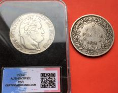 France - 5 Francs 1831-MA & 1843-K (lot of 2 coins) - Louis Philippe I - silver