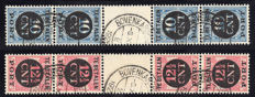 The Netherlands 1924 - Postage due tête-bêche - NVPH P67b and P68b, with certificate