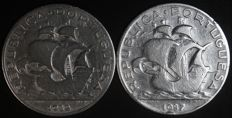 Portugal Republic – 5 Escudos 1932 & 1937 – ( Scarce ) – Silver