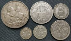 United Kingdom - 3 Pence to Crown 1935 George V (6 pieces) - silver