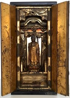 Very large, rare Edo period Buddhist butsudan or home altar with Amida Buddha 阿弥陀仏  (43 cm!) - Japan - ca. 1800