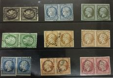 France – Batch of 9 pairs of classical stamps – Between Yvert no. 3 and 17B.