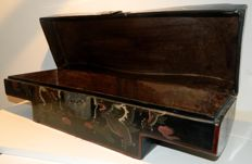 Lacquered wooden cushion box with images of dragons and winged animals - China - second half of 20th century