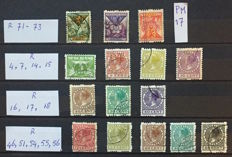 The Netherlands 1925/1928 - Selection of syncopated perforation, including R73 with plate error PM17