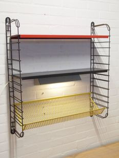 A. Dekker for Tomado - Bookshelf wall rack with original light