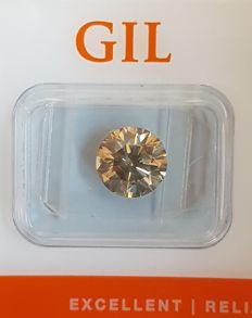 Diamond - 2.60 ct - VS2 - Natural Fancy Intense Greenish Yellow - Round Brilliant Cut - Excellent Cut