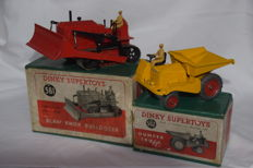 Dinky Supertoys - Scale 1/38 - Blaw Knox Bulldozer No.561 and Muir Hill Dump Truck No.562.