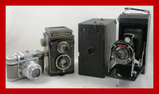 4 different cameras Rolleicord I Nickel plated / Box Houghton Butcher London / Paxette / Kodak Six 16 Art Deco folding camera