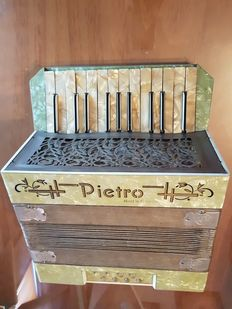 VINTAGE MOTHER-OF-PEARL PIANO ACCORDION - PIETRO - GERMANY - 1930