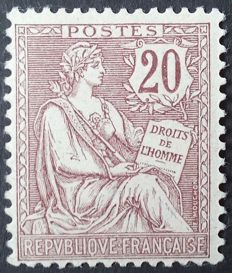 France 1902 – Mouchon, retouched, 20 c. Brown-lilac – Yvert no. 126.
