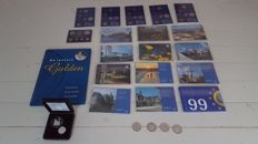 The Netherlands - 1 and 10 guilders 1994/2001 (5 different) - silver + book last guilder with coins + 18x FDC year packs: 1980, 1982 to 1994 and 1996 to 1999