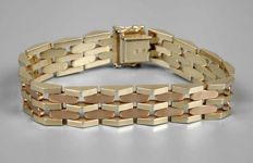 Bracelet, gold grade 585/1000, 14 kt, approx. 31.8 g, hallmark 14 kt, 14 mm wide, wide, concealed box clasp with two safety eights