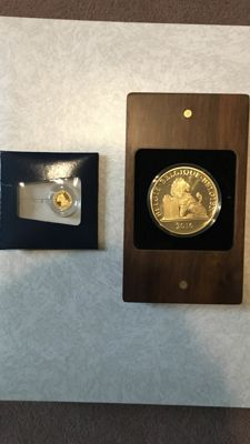 Belgium - 2 medals - medal Napoleon Bonaparte 2014 - gold and medal 185th anniversary Belgian Constitution - copper-nickel gold-plated