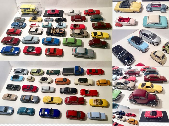 Various - Scale 1/43 - Lot with 56 Europese 1950s - 1970s models: BMW, Volvo, Fiat, Seat, Ford, Lotus, Lamborghini & Trabant and others