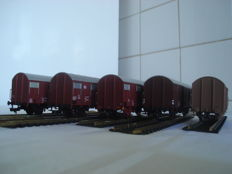Fleischmann H0 - 531003/531004/531005/531001/5310I - 5 closed freight carriages of the DB, DSB, FS