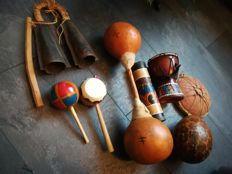 Large set of eight percussion instruments