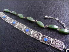 2 bracelets made of 835/1000 silver with jade & blue cabochon stones,
