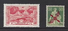 Switzerland 1918/1919 - Landscape and Airmail - Michel 142 + 145