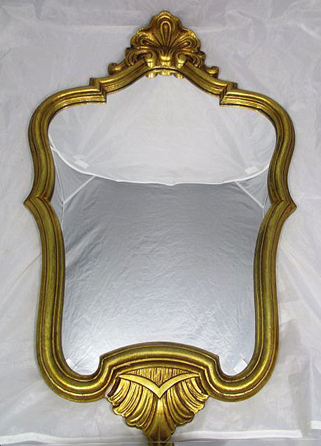 Mirror in gold-coloured frame - in Louis XV style, mid-20th century