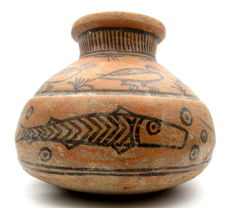 Indus Valley Painted Terracotta Jar with Birds & Fish Motif - 178x145mm