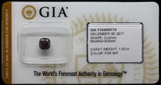1.03 ct Certified Natural Fancy Dark Brown-Purple Diamond  - NO RESERVE